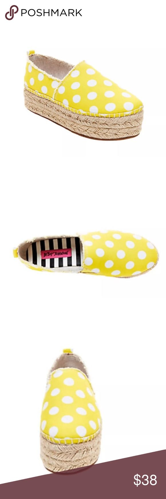 Betsey Johnson Flounce Yellow Espadrilles sz 7 Betsey Johnson Flounce Yellow white polka dots  Espadrille Flats Women's Shoes- Size 7 Brand new without box Man-made upper Man-made lining Man-made sole 1.5 inch platform Betsey Johnson Shoes Espadrilles