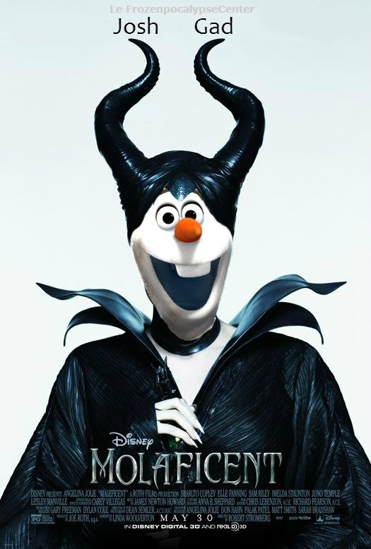Don't know where to pin this image - on my Frozen Pinterest board or my Maleficent Pinterest board...This is the result you arrive at when you mix one happy-go-lucky snowman from Frozen one evil witch named Maleficent! 'Molaficent. #frozen #maleficent