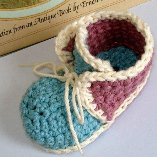 Crochet Pattern Baby Booties Vintage High Top PDF 4 | Genevive - Crochet on ArtFire
