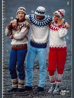 Free pattern instructions in Danish for a Icelandic sweater with matching hat and leggings.