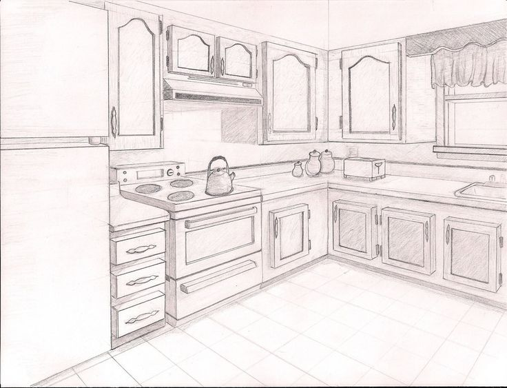 2pt perspective point perspective drawing ideas point for Living room 2 point perspective