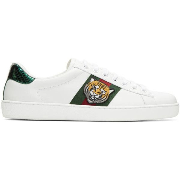 Gucci White Ace Tiger Sneakers ($615) ❤ liked on Polyvore featuring men's fashion, men's shoes, men's sneakers, white, mens round toe shoes, mens white leather sneakers, gucci mens sneakers, mens white leather shoes and mens leather lace up shoes