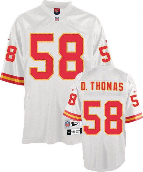 Mitchell and Ness Derrick Thomas Jersey Kansas City Chiefs #58 White Premier Throwback NFL Jersey Sale
