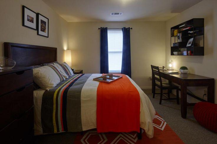 Bedrooms include dark-wood bed frame, pillow top mattress, desk, nightstand and dresser!