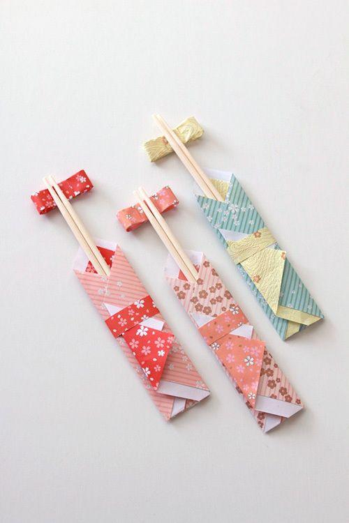 ★ダイソー100円の千代紙で作る着物風お箸袋|インテリアと暮らしのヒント