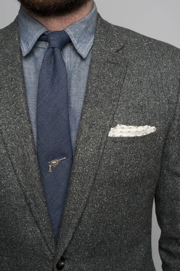 kill 'em with style -- pistol tie pin, menswear accessories