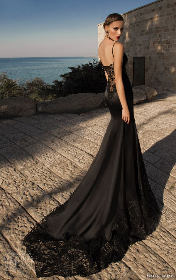 galia lahav moonstruck 2014 marylin black evening dress lace back full view train