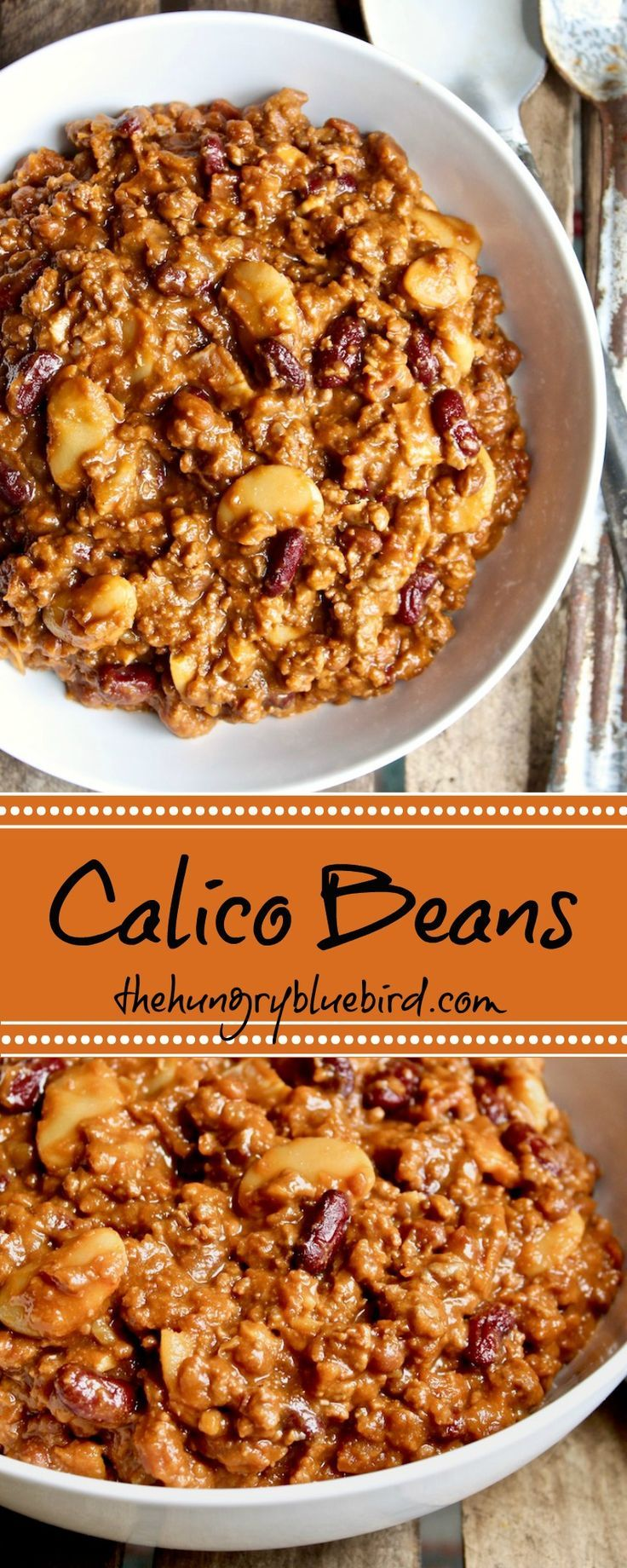Hearty baked beans side dish with 3 kinds of beans, ground beef and bacon, perfect for a potluck or BBQ.