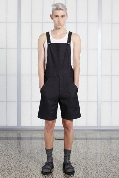 s/s 13/14 mens key looks - M15. dungarees in crow, phys-ed tank in white waffle.