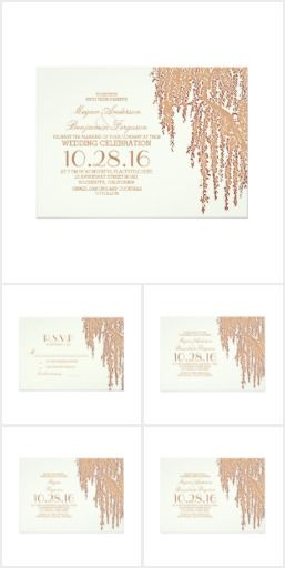 Elegant Willow Tree Wedding Suite Romantic rustic wedding invitations, RSVP cards, save the date cards, engagement party invitations, bridal shower invitations, and rehearsal dinner invitations with elegant willow tree branches.