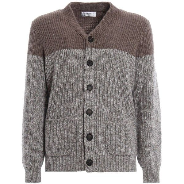 Brunello Cucinelli Cardigan Bicolor Cashmere ($1,325) ❤ liked on Polyvore featuring men's fashion, men's clothing, men's sweaters, mens cashmere cardigan sweater, mens cashmere sweaters and mens cardigan sweaters