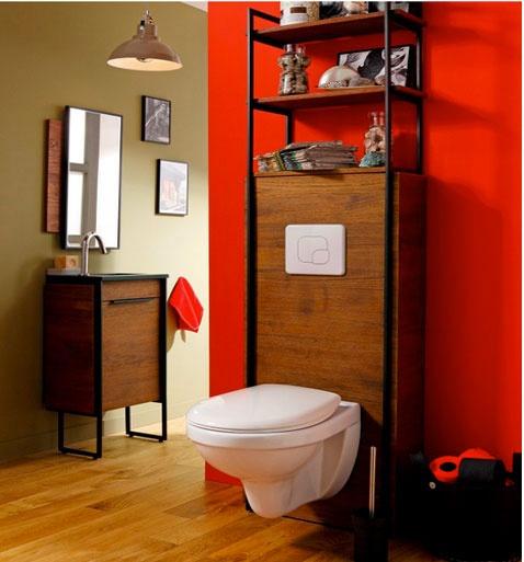 couleur-decoration-toilette-peinture-rouge-element-bois-cuvette-suspendue