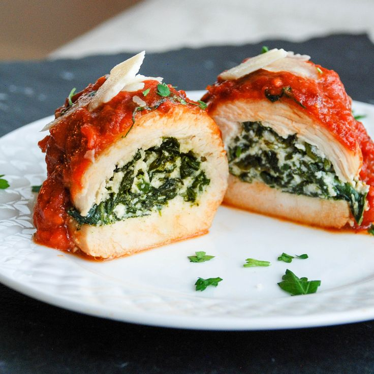 Italian cheese, ricotta, and spinach stuffed chicken with marinara. Impressive meal for date night or weeknight dinners with few ingredients.