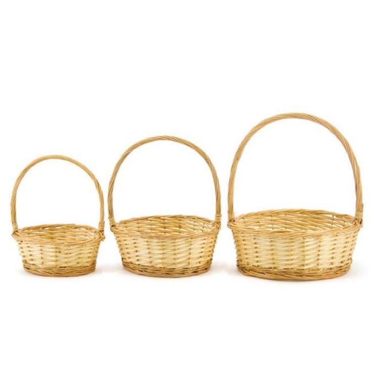 Willow Rnd Basket (Sml) Set/3 32diax12cmH - Natural | Oceans specialises in the development and wholesale distribution of creative floral and gift presentation solutions. Through providing outstanding customer service, and maintaining superior delivery standards, Oceans has a well-earned reputation as market leaders in New Zealand's floral and gift packaging industry. Wedding, Wedding DIY, Favour, gifts,Christmas,