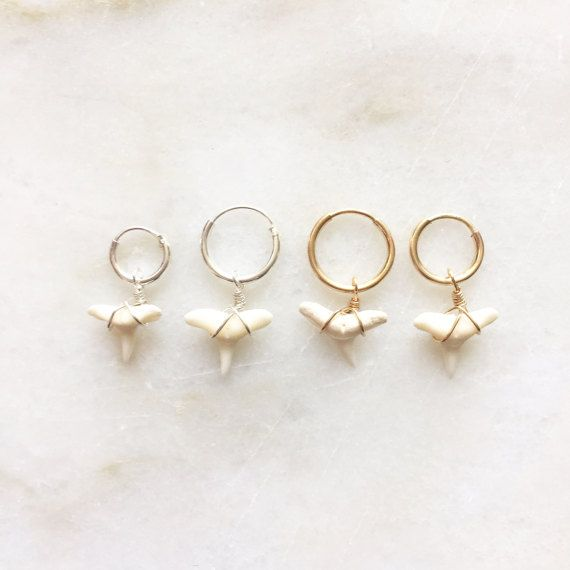 Fred the shark earrings | Handmade jewellery | 14k gold filled & sterling silver
