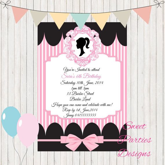 Hey, I found this really awesome Etsy listing at https://www.etsy.com/listing/240102534/barbie-birthday-invitation-edit-and
