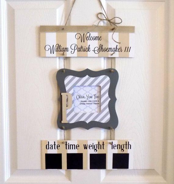 Hospital Door Hanger  Welcome Baby Boy Tan & Gray by OliveYewToo