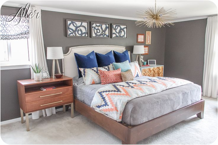 Love this bedroom color scheme - navy, coral, light turquoise, gray