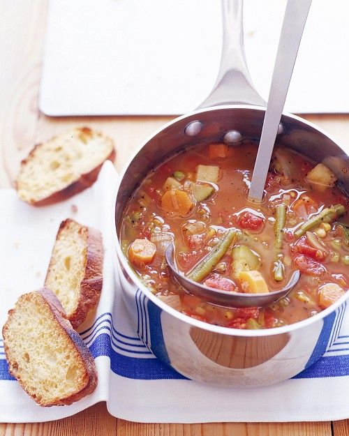 Big-Batch Vegetable Soup.... think I might make this tonight. I'll most likely use canned veggies versus frozen ones. I have the canned ones and it's too cold outside to go to the store!