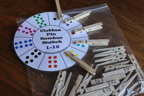 Clothespin Number Match-up Busy Bag