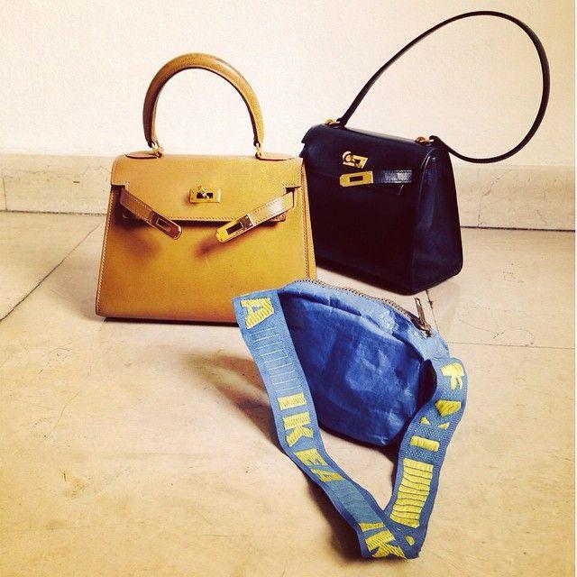 Mini Kelly Hermes & mini bag Ikea...  #accorgitene #ikea #hermes #bag #paolamanfrin #kelly