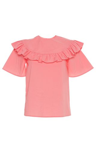 This **Vivetta** Yantai Ruffle Short Sleeve Shirt features a ruffled neckline with short sleeves and a relaxed fit.