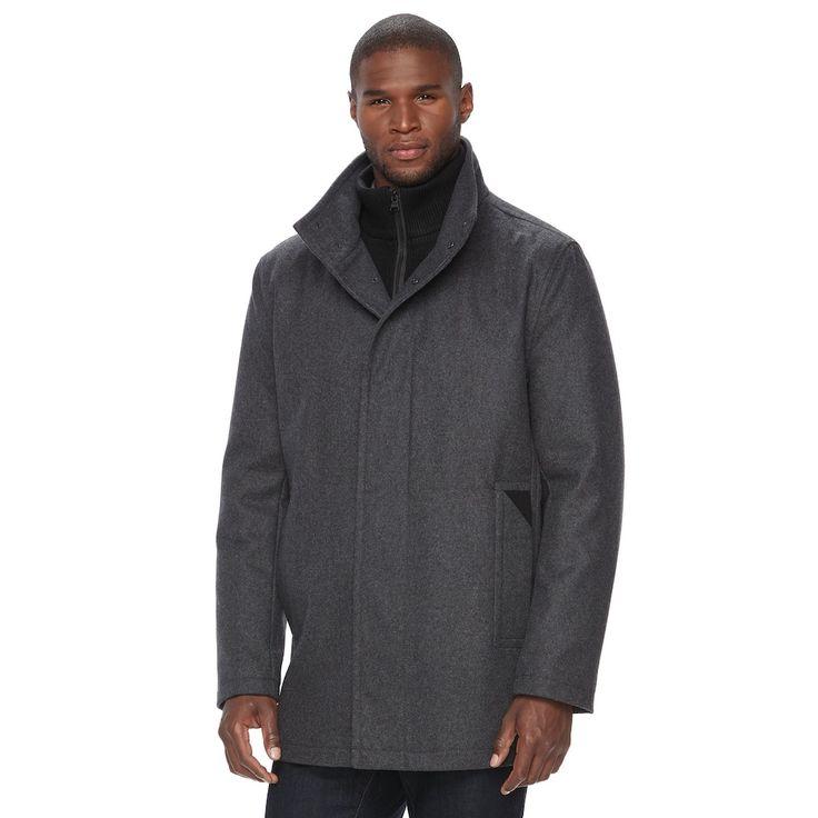 Men's Andrew Marc Wool-Blend Car Coat, Size: Medium, Dark Grey
