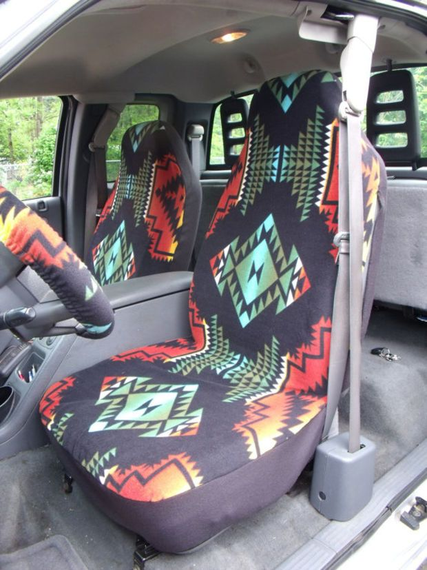 1 Set Of Aztec  Print  Car Seat Covers and Steering Wheel Cover Custom Made.