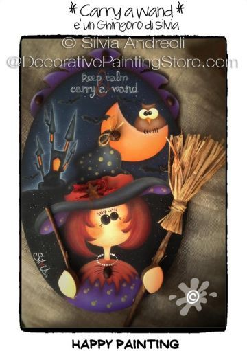 The Decorative Painting Store: Carry a Wand ePacket by Silvia Andreoli - PDF DOWNLOAD, All Pattern Packets #PaintingEpattern #WitchPattern #CuteWitch