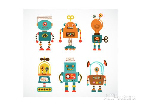 Set Of Cute Vintage Robots Prints by Marish at AllPosters.com