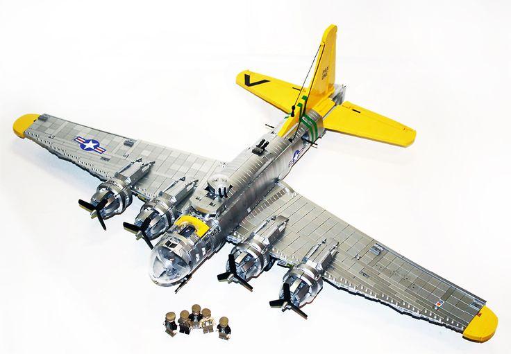 Lego B-17 Flying Fortress in metallic silver bricks