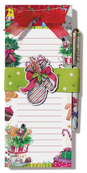 Holiday Tea Time Stationery List Pad with Pen