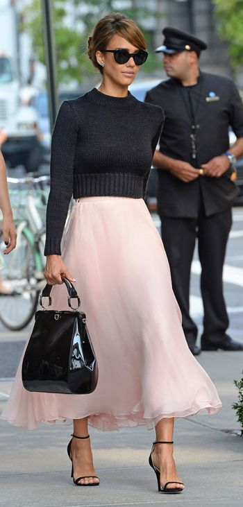 Jessica Alba channelled Audrey Hepburn at New York Fashion Week