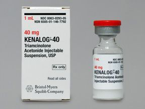Kenalog injection. Generic name: Triamcinolone acetonide This is the shot they gave me to treat my out of control and inflamed eczema symptoms. It worked like magic! But there were undesirable side effects: stomach pain, headaches, heart palpitations, sore throat, undesirable menstrual changes for 3 mo, and voiding issues. Still, would probably do it again as the symptoms were gone in just a couple of days and took a few weeks to return, but were not as severe.