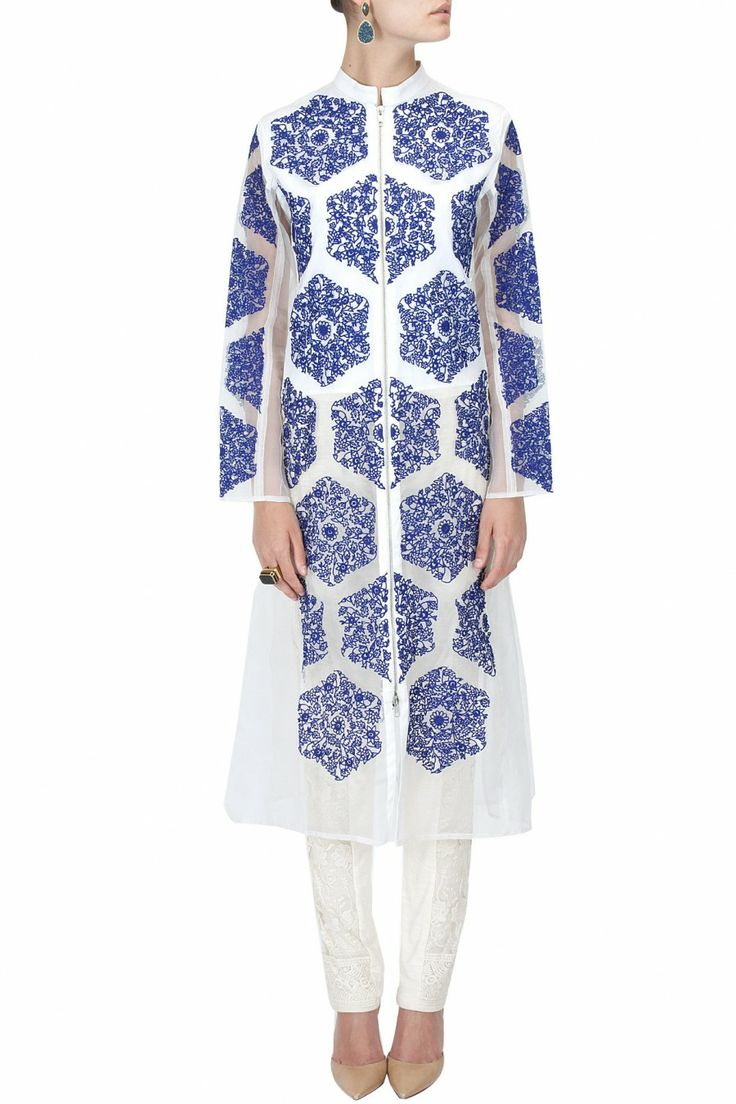 Ivory organza embroidered long jacket by RAHUL MISHRA.