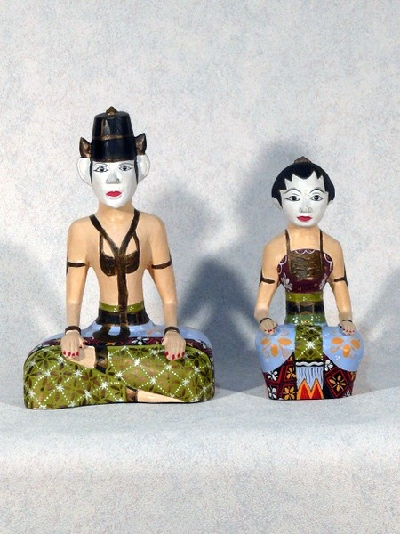 Vintage Loro Blonyo Bride  Groom Wedding Statuettes from Java Indonesia