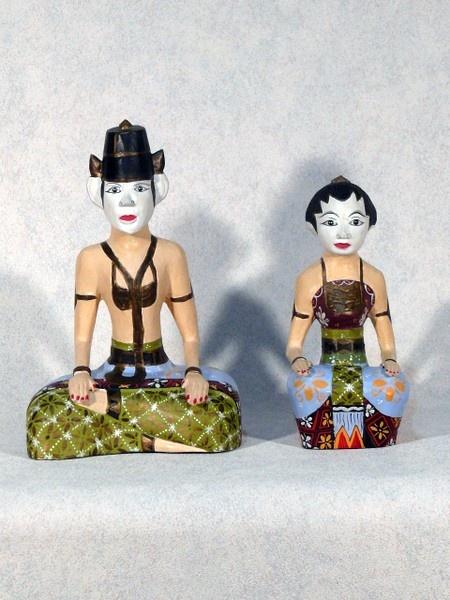 Vintage Loro Blonyo Bride  Groom Wedding Statuettes from Java Indonesia