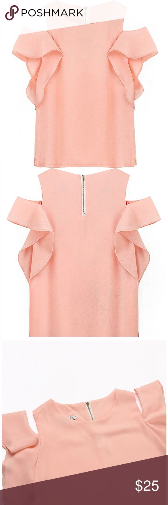 Off the Shoulder Chiffon Blouses Women Fashion New without tag High quality chiffon. Hand-washing, machine washable, dry clean, do not bleach. Sexy off shoulder design.. Tops Blouses