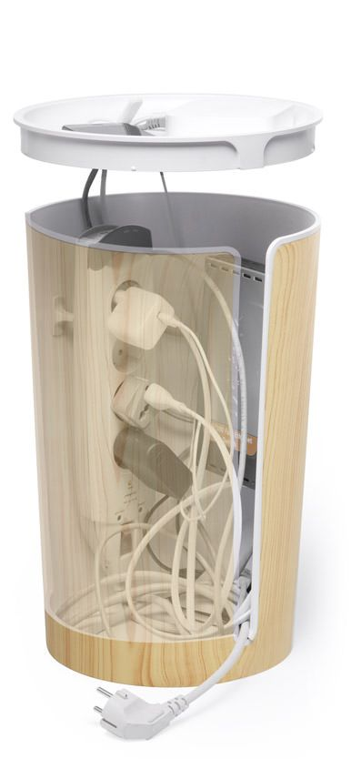 CableBin is a sophisticated bin to gather and organize cable clutter, keeping it out of sight.
