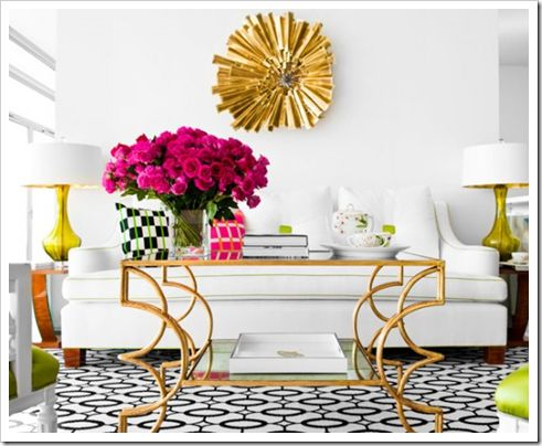 So cute: Coffee Tables, Living Rooms, White Sofas, Interiors Design, Memorial Tables, Jan Shower, Gold Accent, Hollywood Regency, White Gold