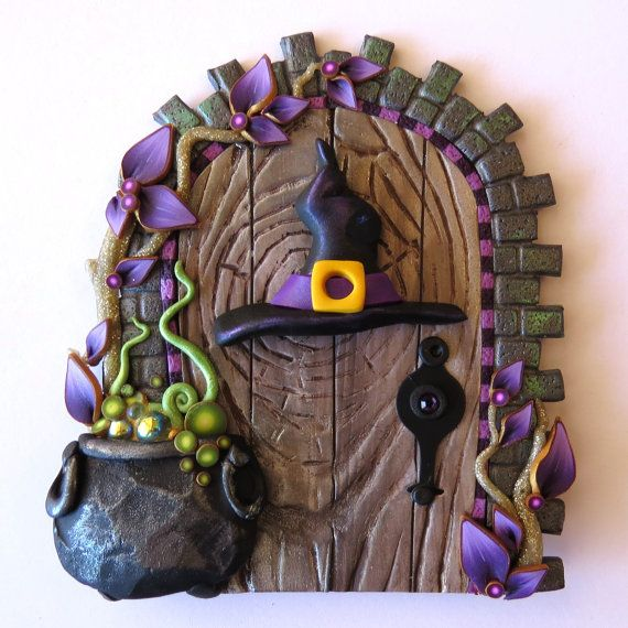 Witch Hat and Bubbling Cauldron Halloween Door, Holiday Decor Pixie Portal, Home Decor, Polymer Clay Miniature