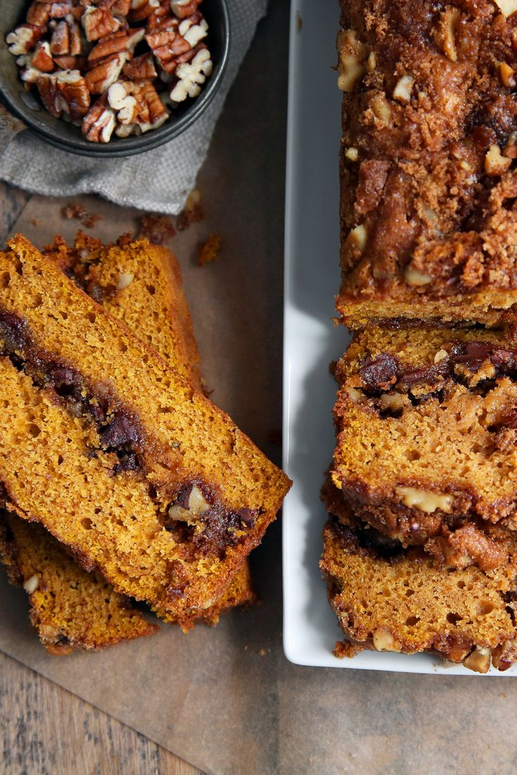 This pumpkin quick bread is everything you love about the traditional version, but with a ribbon of spiced-chocolate-nut streusel running through the center and topped with more of the same. We like ours served with a scoop of vanilla ice cream. (Photo: Jim Wilson/The New York Times)