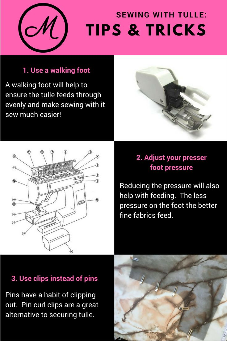 Tips and tricks for sewing with tulle. Including the walking foot, pressure dial, and using pin curl clips.
