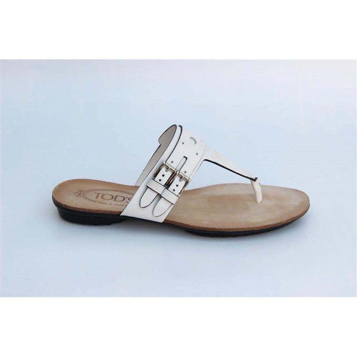 White 36 EUR - 6 US (241mm) Tods ladies flat sandal XXW0KU0A170BR0B001