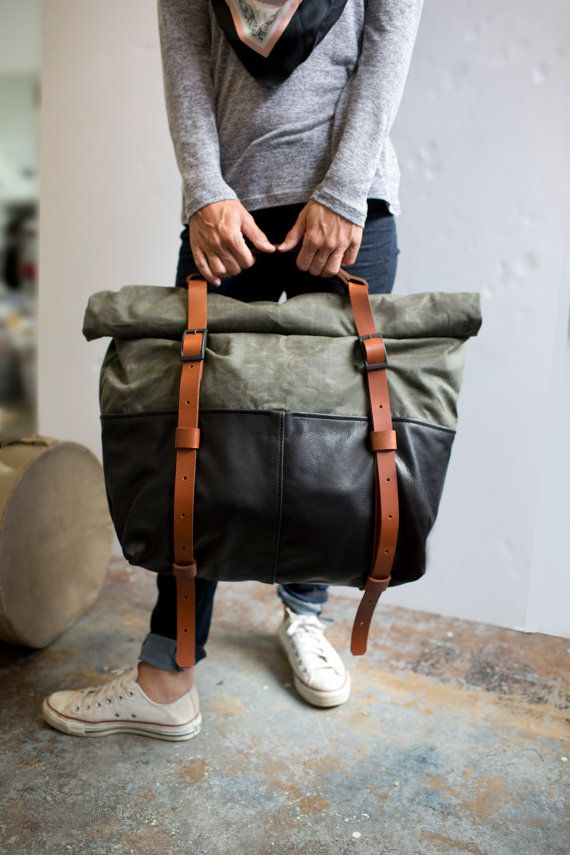 Leather and Waxed Canvas Weekender Bag Olive Canva…