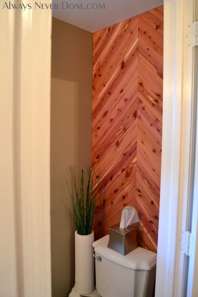 Cedar planked herringbone accent wall cool home ideas for Wood bathroom wall decor