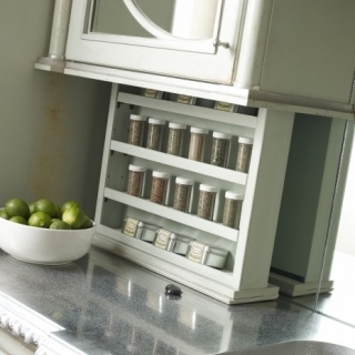 Spice racks nice and galley kitchens on pinterest for Galley kitchen storage solutions
