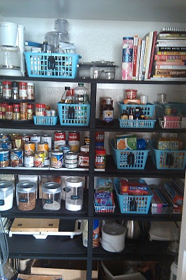Pantry inspiration.  Love the idea of spray painting dollar store baskets!!
