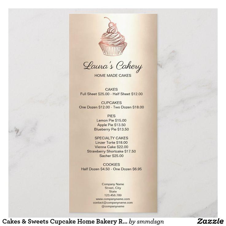 Cakes sweets cupcake home bakery rustic vintage menu