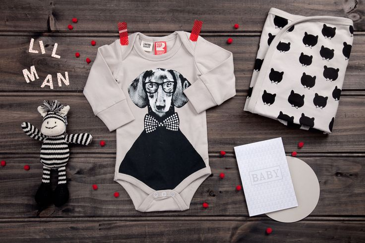 Lil' Man available now at thespecialdeliverycompany.com.au Nana Huchy Zac the Zebra Baby Rattle, Australian Designed Rock your Baby Little Bear Wrap and Rock your Baby 'Hugo' Long sleeve bodysuit (available in sizes 000 & 00)